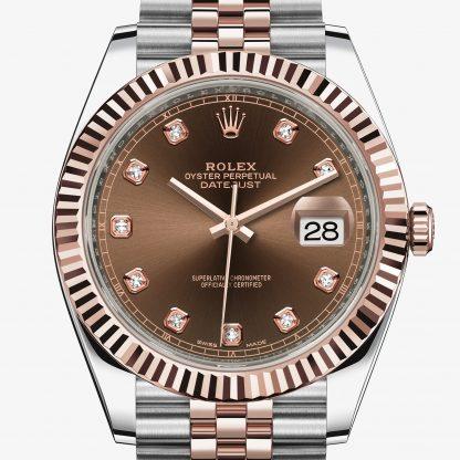 falso Rolex Datejust Chocolate con diamanti M126331-0004