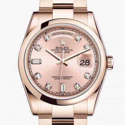 falso Rolex Day-Date Rosa con diamanti M118205F-0061
