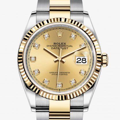 lusso Rolex Datejust Color champagne con diamanti M126233-0018