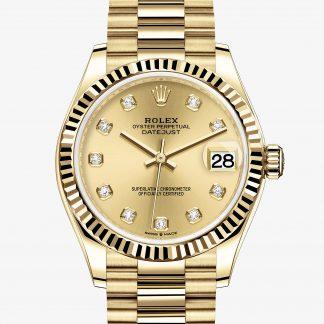 lusso Rolex Datejust Color champagne con diamanti M278278-0009