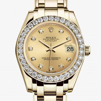 migliore Rolex Pearlmaster Color champagne con diamanti M81298-0005