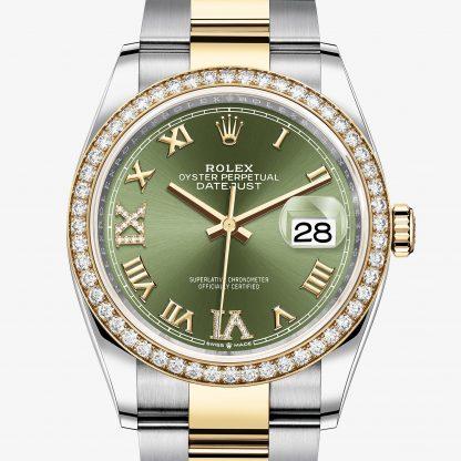 replica Rolex Datejust Verde oliva con diamanti M126283RBR-0012