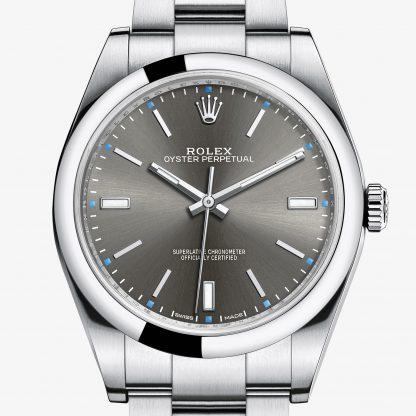 replica Rolex Oyster Perpetual Rhodium scuro M114300-0001