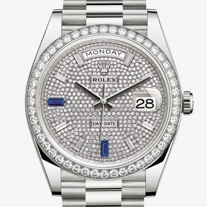 scontato Rolex Day-Date Pavé di diamanti e zaffiri M228349RBR-0036
