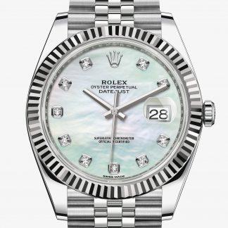 superiore Rolex Datejust Madreperla bianca con diamanti M126334-0020