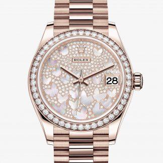superiore Rolex Datejust Pavé madreperla farfalle M278285RBR-0010