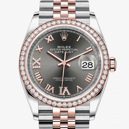 superiore Rolex Datejust Rhodium scuro con diamanti M126281RBR-0011