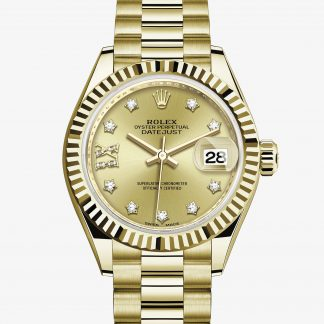 superiore Rolex Lady-Datejust Color champagne con diamanti M279178-0013